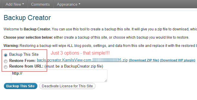 Backup Creator Settings - WordPress backup and cloning plugin